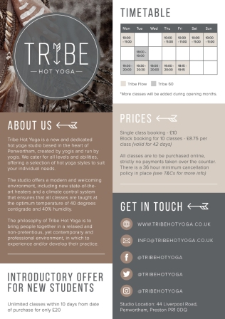 Tribe Hot Yoga A5 Flyer with Slogan Print Ready2