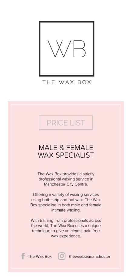 The Wax Box Price List Print Ready