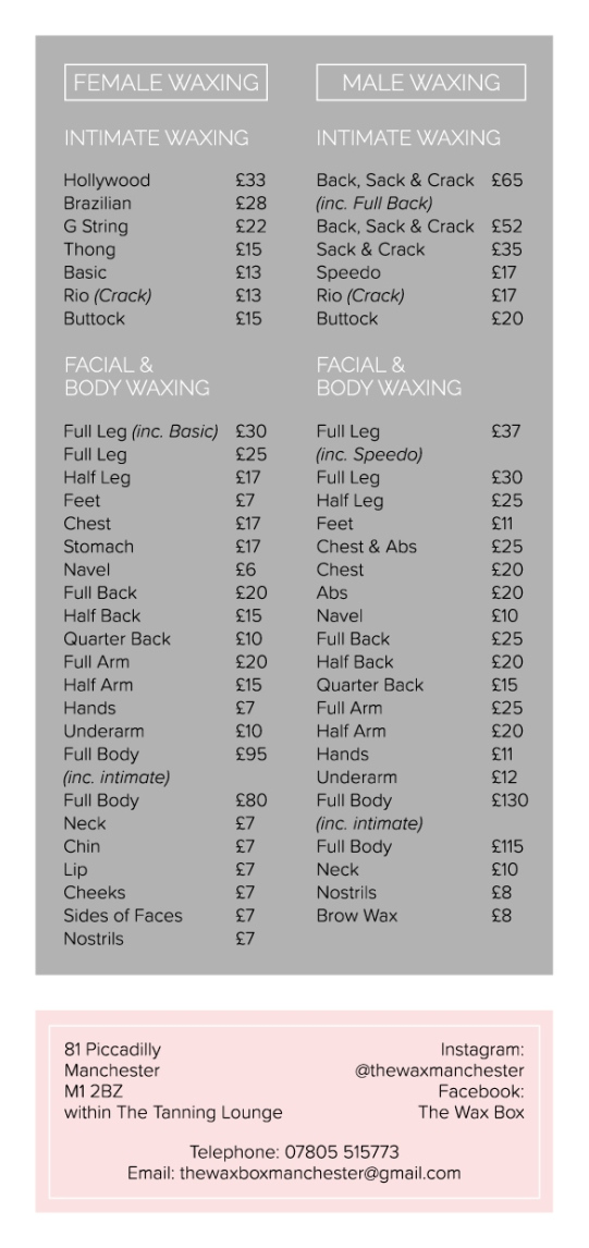 The Wax Box Price List Print Ready2